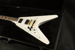белая гитара v Скидка Бесплатный shippinghigh качество белый цвет левая рука летать v гитара