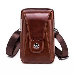 "Крест-крючок онлайн-Real Genuine Leather Men Waist Shoulder Bags Purse Riding Hip Bum 4-6"" Cell Phone Case Hook Belt Fanny Small Cross Body Pack"