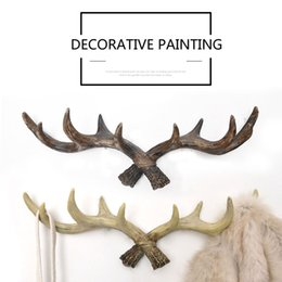 Wholesale Decor Keys - American Vintage Antler Home Decor Hook Creative Clothing Store Entrance Wall Hanging Decorations Personalized Key Clothes Hooks
