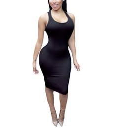 Vestido de fiesta midi sexy rojo online-Nuevo vestido sin respaldo sexy 2018 Celebrity Evening Party vestido sin mangas Vestidos sin mangas Blanco Negro Red Club Mujer Vestidos Midi