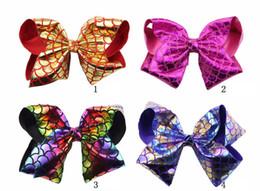 """Tela de clips hechos a mano online-Envío gratis 50 unids 8 """"Mermaid Hair Bows Con Clips para niños niñas escamas de pescado hechas a mano Metallic Fabric Bows Hairgrips"""