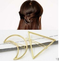 Wholesale Circle Hair Clips - New Promotion Trendy Vintage Circle Lip Moon Triangle Hair Pin Clip Hairpin Pretty Womens Girls Metal Jewelry Accessories 60 pcs