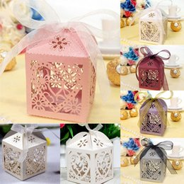 Wholesale Sweet Wedding Favours - Wholesale- Wedding Decoration Candy Bags 50pcs Love Heart Lase Cut Wedding Sweets Candy Gift Favour Boxes with Ribbon Free Shipping