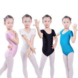 leotard per bambini Sconti Body di ginnastica per bambini Body per bodybuilding Tuta a maniche corte Girl Ballet Dancewear Body