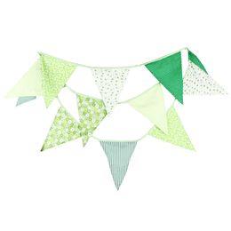 Хлопковый деко онлайн-3.6 m 12 флаги зеленый баннер Вымпел хлопчатобумажная ткань овсянка баннер стенд реквизит Photobooth день рождения украшения свадьба деко