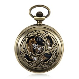 Wholesale Pet Acrylic - Japan Beetle Pets Skeleton Watches Steampunk Pocket Watch W Chain Bronze Tone Case Hand Wind Mechanical Pocket Watch Gift