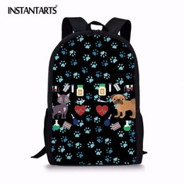 INSTANTARTS Cute Nurse Dog Printed School Backpack for Girls Boys Casual  Laptop Students School Bag Travel Bookbags Kids girls backpacks for school  dog ... 1b2570983501e