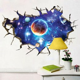 Wholesale Fantasy Bedroom - Wholesale- Modern 3D Wallpaper WallSticker Bedroom Living Room Ceiling Painting Roofs Children Fantasy Stars Galaxy Nebula WallStickers