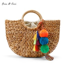 Wholesale Beach Bags Natural - beach bag straw totes bag bucket summer bags with tassels pom pom pompon women natural basket handbag 2017 new high quality