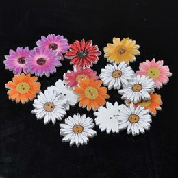 Wholesale 25mm craft buttons - Sunflower Random Mixed flower Painted Wooden Buttons Decorative Buttons For Sewing Scrapbooking Crafts 50pcs 25mm MT1558