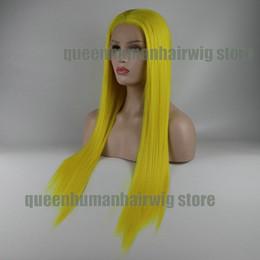 Argentina El color amarillo mano recta natural atado pelucas delanteras del cordón sintético a prueba de calor del pelo para CosplayDrag Queen compone para arriba supplier queen hair wigs Suministro