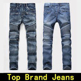 Wholesale European Straight - Mens jeans Distressed Robin Motorcycle biker jeans Rock revival Skinny Slim Ripped hole Men's Famous Brand Denim pants Men Designer jeans
