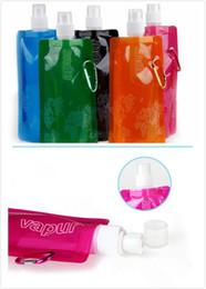 protetor shaker garrafa direta direta Desconto Popular Dobrável Esportes Ao Ar Livre Saco De Água 480 ML PVC Garrafa De Água Dobrável Ambiental Saco De Gelo Chaleira Mais Cores