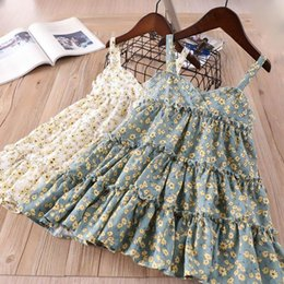 Wholesale Baby Cotton Singlets - 2018 Kids Flower Dresses Baby Girls Printed Floral Dress Kids Girls Fashion V-veck Singlet Dress Childrens Clothing