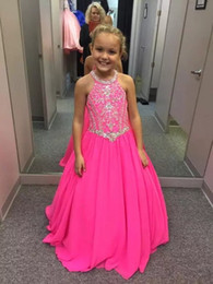 2018 Fuchsia Little Girls Pageant Abiti in rilievo Cristalli abito da sera  per bambini Fiore Prom Party abiti per matrimoni Custom Made 93b727931ba
