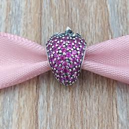 Strawberry jewelry silver online-Authentische 925 Sterling Silber Perlen Pavé Erdbeer Charm Passt Europäische Pandora Style Schmuck Armbänder Halskette 791899CZR