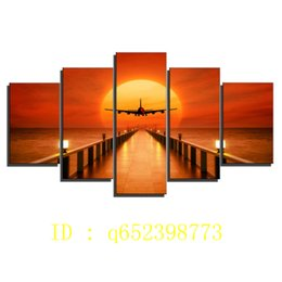 airplane prints Australia - Airplane,sunset Horizon,5 Pieces HD Canvas Printing New Home Decoration Art Painting  Unframed   Framed