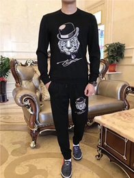 Wholesale Tiger Winter Hats - 2017 autumn and winter new tide brand embroidered hat tiger head handsome guy sweater suit casual two-piece suit