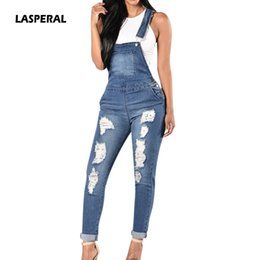 denim jumpsuits women rompers Promo Codes - LASPERAL 2018 Spring Women Denim Overalls Jumpsuits Ripped Holes Casual Pockets Sleeveless Jumpsuits Hollow Out Slim Rompers 2XL