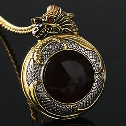 Wholesale Vintage Red Stone Pendant - Luxury Mens Watches Cool Golden Dragon Dangle Creative Vintage Quartz Pocket Watch Pendant Chain Women Fashion Gifts Red Crystal Stone Clock