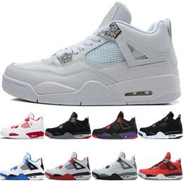 a772e4e4441 Nike Air Jordan Retro Chaussures de basket-ball 4 4s Hommes Raptors Pure  Money Bred Royalty Noir Blanc Ciment Feu Toro Bravo Rouge Pas Cher Hommes  Sport ...