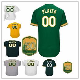 Wholesale Oakland Baseball Jersey - Custom Oakland baseball jerseys whith 50th Anniversary Patch 24 Henderson 44 Jackson 2 Davis 54 Gray 23 Joyce baseball jersey