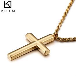 Männliche kreuzkette online-Kreuz Halskette Für Männer Neue Mode Hohe Poliert Edelstahl Gold Farbe Kreuz Anhänger Halskette Männlichen Billig Schmuck