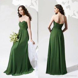 Wholesale Dress Jade Color - Cheap Jade Green Bridesmaids Dresses Sweetheart Neckline Strapless Pleated Chiffon Floor length Bridesmaid Dresses Prom Dresses WB015
