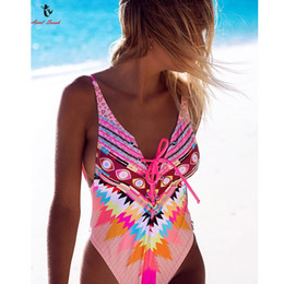 Wholesale Animal Print Monokini Swimwear - Ariel Sarah Halter One Piece Swimsuit Sexy Colorful Print Swimwear Women Floral Bathing Suit Bodysuit Piece Swimwear Monokini