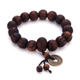 Wholesale vintage buddha - 2 Colors Natural Wood Beaded Yoga Buddha Bracelet Vintage Copper money Design For Men Charm Hand Jewelry Accessories
