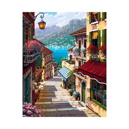 Wholesale Painted City - AZQSD 16x20inch No Frame City Street Trail Paint by Numbers Home Decor Wall Art Diy Digital Oil Painting szyh6933
