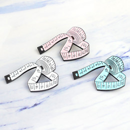Wholesale Clothes For Girl China - Miss Zoe 3 Color Blue White Pink Measuring Tap Brooches Gift for Men Creativity Icons Pin Badge Button Lapel Women Girl Clothing