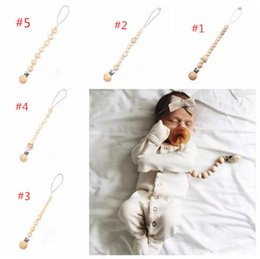 Wholesale Wooden Pacifier Clips - Baby Wooden Pacifier Holders 5styles choose Newborn Beaded Pacifier Holder Clips Nursing Teether Dummy Chain Toddle Nipple Holders B11