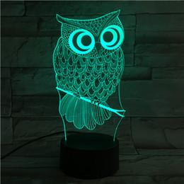 Date Télécommande 3D Hibou Lampe De Table USB Coloré 7 Changement De Couleur LED Home Party Chambre Décoratif Nuit Lumière Cadeau wn280 ? partir de fabricateur