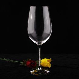 Wholesale Wholesale Crystal Stems - OH13260 new high classic 755ML wine glass cups for wedding red wine glasses set with stem filled rhinestones and crystal