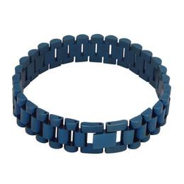 15mm ancho reloj de hombre pulsera de hiphop de acero inoxidable azul negro oro plata cadena de tanque de color brazaletes joyería desde fabricantes