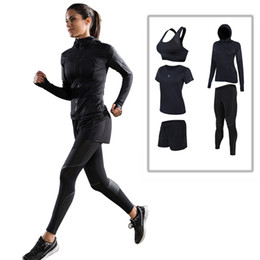 Wholesale Yoga Jacket Xl - Wholesale-2017 Real Rushed Women Fitness Suit Women's Sports Gym Winter And Yoga Jacket Running Three Or Four Sets Of Fast Dry Clothes