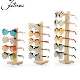 Wholesale Display Rows - 12 10 8 Pair Eyeglasses Sunglasses 3D Eyeglasses Display Stand Rack Holder Shelf Wood Single Row Square Base Jewelry Show Frame