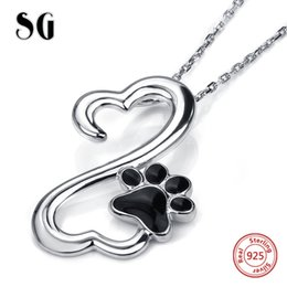 Wholesale 925 silver dog chain necklace - 925 sterling silver cute animal dog footprint pendant chain necklace with black enamel diy fashion jewelry making women gift