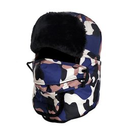 Wholesale men faux fur hat - Russian Hat For Men Faux Fur Bomber Winter Hats With Earmuffs And Face Mask Balaclava Chapka Russe Homme Russische Muts MX17263