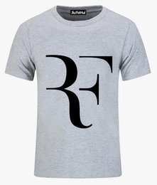Wholesale Raglan Fashion Men Shirt - 2018 Roger Federer RF Men T Shirt tenniser Cotton raglan Sleeve clothing casual T-shirt roger federer brand teeshirt Mens tshirt