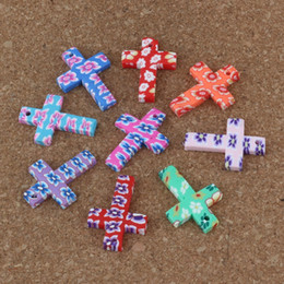 Wholesale Fimo Christmas - MIC 100Pcs lot Hot sell Random Mixed Polymer Fimo Clay Cross Crucifix charm Pendant Jewelry DIY