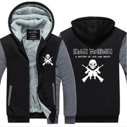 Wholesale heavy fleece jacket - US Size 2018 Iron Maiden Hoodies men Long sleeve band Jacket rock heavy metal music Thicken Zip up Steve Harris Tops Plus size