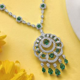 Wholesale Jade Silver Wedding Dresses - Cheap necklace Newest Luxury Sparking Brilliant Green Zirconia Earring Necklace Heavy Dinner Jewelry Set Wedding Bridal Dress Accessories