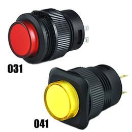 Aus-schalter rot online-2Pcs R16-503AD OFF-ON LED Licht Selbstsichernde Druckknopfschalter Rot SA169 P50