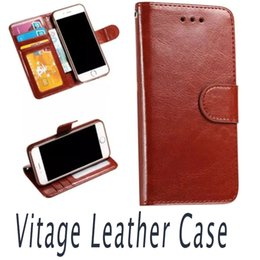 Wholesale Iphone 5s Vintage Cases - New Luxury Vintage Flip PU Leather Case For iPhone 7 6s 6plus 5s SE Wallet Stand Card Slot Cover Money Pocket & Photo Frame Bag