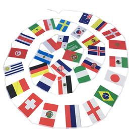 2018 Rusia BANDERAS DE BINGING DE LA COPA MUNDIAL TODOS LOS 32 EQUIPOS 9M Bar String Flags 14 x21cm 20 * 30cm Banderas de Nación de la Copa del Mundo de Decoración desde fabricantes