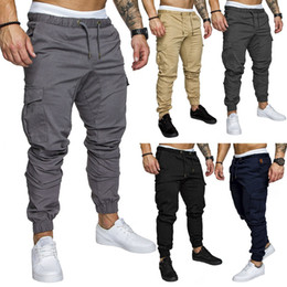 Wholesale clothes style trousers - New 2018 Designer Mens Clothing Cargo Pants Pocket Safari Style Casual Elastic Waist Hip Hop Sweatpants Joggers Streetwear Trousers