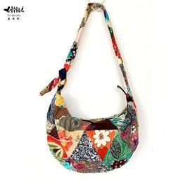 Wholesale Cotton Sling Bags - Unique Patchwork Handmade Sling Crossbody Messenger Shoulder Bag Women Bohemian Hippie Cotton Canvas Bags free shipping