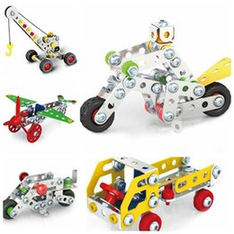 Wholesale Toy Building Cranes - 3D Assembly Metal Engineering Vehicles Model Kits Toy Car Crane Motorcycle Truck Airplane Building Puzzles Toys CCA8979 60pcs